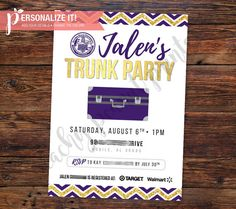 Planning a Successful Trunk Party invitation template College
