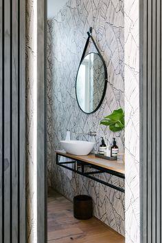 House Collins interiors by Hint Bathroom Vanity, Wallpaper, Furniture, Interior, Round Mirror Bathroom, House, Home Decor, Mirror, Bathroom