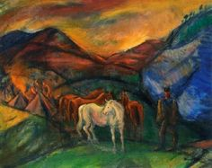 Márffy, Ödön (1878-1959)  - Encampment (Horsemen in the valley), around 1917