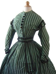 All The Pretty Dresses: Green 1860's Dress with Stripes