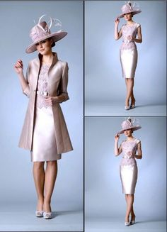 Lace+Satin Mother of the bride outfits Wedding Special Occasion Dress With Coat