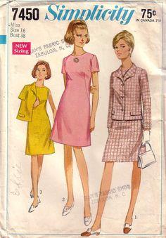 VTG Simplicity 7450 Dress and Jacket Size 16, c.1967