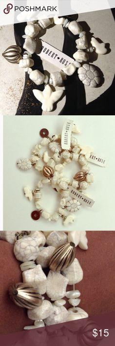 🚨 New Listing 🚨 Cream Charm Stretch Bracelet Charm bracelets with metal and acrylic charms (dove, polar bear, flower) Robert Rose Jewelry Bracelets