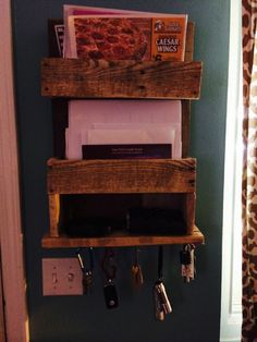 Mail/Key Holder we made from reclaimed pallet wood