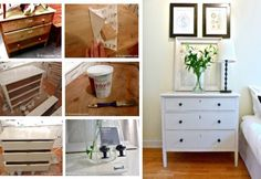 Redo old chest of drawers with fresh paint and new hardware. Great way to recycle.