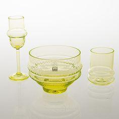 "NANNY STILL - Glassware from the ""Sultaani"" range for Riihimäen Lasi Oy, Finland.   [h. 7 cm, 14 cm, 8,5 cm]"