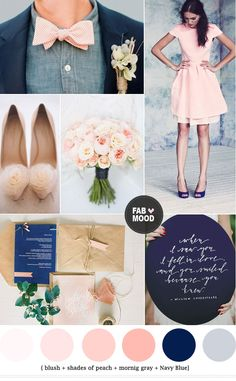 Navy blue and peach wedding colors - wedding #Wedding