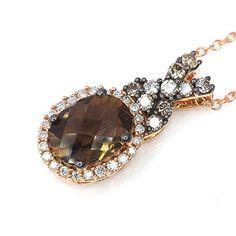 LeVian Smoky Quartz Chocolate and White Diamonds 1.21 cttw Pendant / Necklace 14k Rose Gold. Available at #BRANDINIA. www.Brandinia.com
