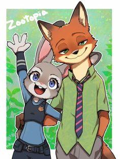 Zootopia Nick Wilde, Zootopia Nick And Judy, Disney Zootropolis, Disney Fan Art, Furry Pics, Furry Art, Cute Disney Drawings, Cute Drawings, Cute Pictures To Draw