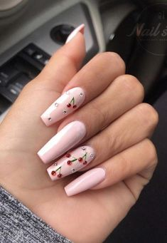 The summer season is a perfect excuse to try brighter and bolder colors on your nails! Check out these incredible nail designs and recreate a few before the summers over ; Summer Acrylic Nails, Best Acrylic Nails, Acrylic Nail Designs, Summer Nails, Unique Nail Designs, Art Designs, Nail Design Glitter, Nails Design, Cherry Nails