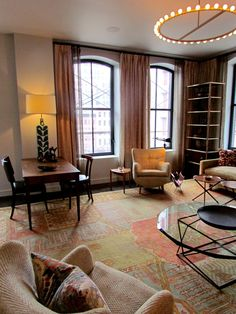Fine Living ..   great open plan living room for Designer Visions: David Rockwell for House Beautiful