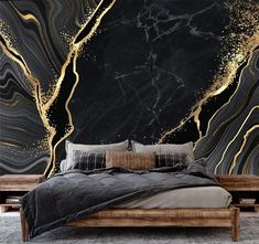 Black And White Wallpaper, Gold Wallpaper, Wallpaper Size, Photo Wallpaper, Black And Gold Marble, Yellow Marble, Black N Yellow, How To Install Wallpaper, Traditional Wallpaper