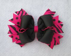 Hot Pink Zebra Hair Bow, Boutique Hair Bow, Over the Top Boutique Style Bow:  Pink and Black Zebra Print Hair Bow,  Zebra Print Hairbow