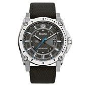 Bulova Watch, Men's Precisionist Black Kevlar Strap 47mm 96B132