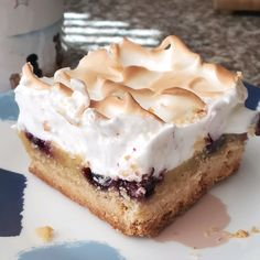 Lemon Blueberry Bars, Lemon Bars, Blueberry Recipes, No Bake Desserts, Just Desserts, Dessert Recipes, Sweet Treats, Sweet Cookies, Bar Cookies