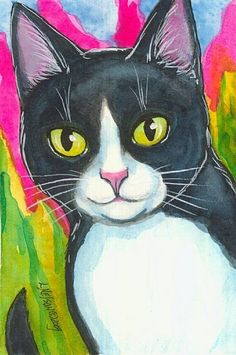 tuxedo cats christmas paintings | This ACEO was inspired by the storms we had today. I needed something ...