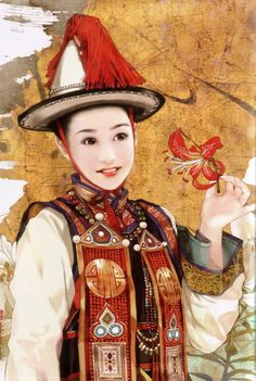 There are 56 ethnic groups in China that have been specifically recognized by the government. In this series, Taiwanese artist Chen Shu Fen (陈淑芬) has painted stunning portraits of women from each one in their traditional dress. This one here is of a Yugur (aka Yellow Uyghur) woman.