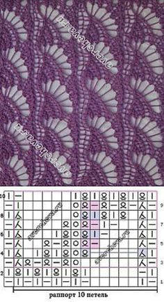 A knitting pattern.but it would look great as crochet, maybe a shawl? Lace Knitting Stitches, Knitting Machine Patterns, Crochet Stitches Patterns, Knitting Charts, Lace Patterns, Knitting Designs, Hand Knitting, Stitch Patterns, Knitting Needles