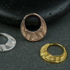 Φυλετικές Διαφραγματοειδή Ring δακτύλιο Φυλετικές Μύτη 925 μασίφ ασήμι Black Rhodium, Tribal Fashion, Sacred Geometry, Rose Gold Plates, Septum Ring, 18k Gold, Piercing, Brass, Sterling Silver