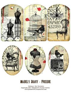 Ephemera's Vintage Garden: Free Printable - Add-On Tags For Mabel's Diary Collection