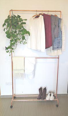 High Double Deck Copper Pipe Garment Rack + Wheels + Shoe base by moodymarsh on Etsy https://www.etsy.com/listing/483476744/high-double-deck-copper-pipe-garment