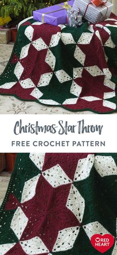 Christmas Star Throw free crochet pattern in Red Heart Super Saver. Display this inviting throw in the guestroom to welcome visitors, or drape it over furniture to enhance your holiday home. Rich colors give it timeless appeal, but you can easily dial up the shades to make it more contemporary. With over 100 colors available from Red Heart Super Saver, we're sure you'll enjoy making more than just one! Easy Knitting Patterns, Loom Knitting, Knitting Projects, Crochet Projects, Crochet Patterns, Crochet Tutorials, Crochet Ideas, Cute Crochet, Crochet Crafts