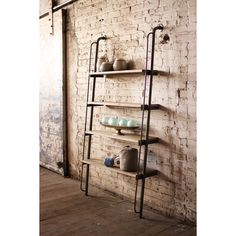 Metal And Wood Shelves Leaning Wall Shelving Unit With Skewed Iron Pipe With A Wooden Plank Leaning On A Brick Wall With Design Four Board of Unique Awesome For Metal And Wood Bookcase Designs from Furniture Ideas Metal Shelving Units, Wood Shelves, Ladder Shelves, Playroom Shelves, Pipe Shelving, Shelving Ideas, Open Shelves, Leaning Shelf, Objet Deco Design