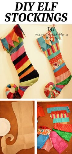 DIY Elf Stocking Ok, so I may be a little biased but I think that these have got to be the cutest stockings ever. You want to know my favorite part ab… Unique Christmas Stockings, Cute Stockings, Christmas Stocking Pattern, Christmas Crafts For Gifts, Christmas Sewing, Christmas Diy, Whoville Christmas, Christmas Lights, Stocking Tree