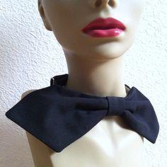 Vintage 70s Womens Necktie // Black // Oversized // by MKRetro, $24.00