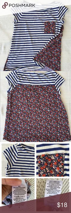 Anthropologie short sleeve top size Small Fun mixes media top with striped in the top and flowers in the back. EUC and only worn a couple of times. Anthropologie Tops Tees - Short Sleeve