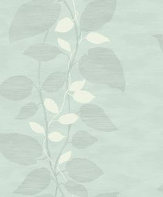 Today Interiors Vertical Leaf Trail Blue & Grey Wallpaper main image