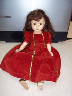 "VINTAGE MADAME ALEXANDER MAGGIE DOLL 14"" HARD PLASTIC SLEEPING BEAUTY RED DRESS"