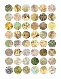 Vintage Maps Bottlecap Images / Old Victorian Map Pages / Printable Digital Collage for Bottle Cap Necklaces. $1,99, via Etsy.