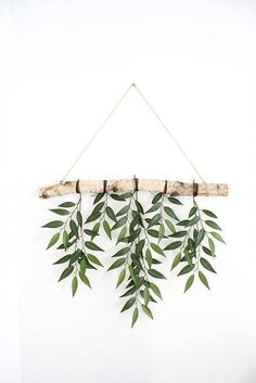 Birch branch wall hanging with real looking Similax leaves! Complete with twine thread for hanging perfectly near a window or on a wall in any space! *Please note that birch branch sizes may slightly vary wall decor Folhas Hanging Branch Diy Wall Art, Diy Wall Decor, Boho Decor, Diy Home Decor, Decoration Branches, Wall Decorations, Birch Branches, Decoration Plante, Décor Boho
