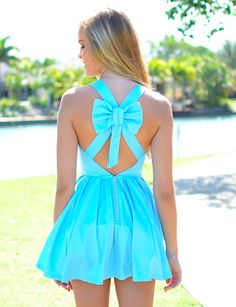 Bow Dress (bow dress,dress,bow,skater dress,blue dress,girly,boutique)