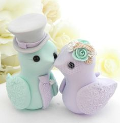 Love Birds Wedding Cake Topper, Mint Green, Lilac, Grey and Cream, Bride and Groom Keepsake