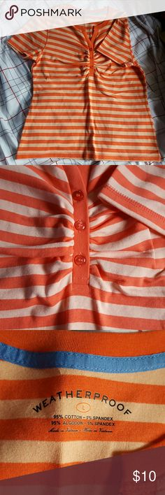 detailed tshirt really nice new looking half button neck tshirt with chest stitch? ( dk how i would describe that)  more salmon and peach in color than pics portray. durable fabric, i qish this fit me! Weatherproof Tops Tees - Short Sleeve