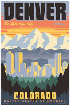 Celebrate your love for The Mile High City with this vintage-style travel poster by Red Robot! The bold design is digitally printed in vibrant colors on high quality paper and is available in three sizes. Frame not included. SIZE OPTIONS: 13 x 19, 16 x 24, and 24 x 36 giclée prints: