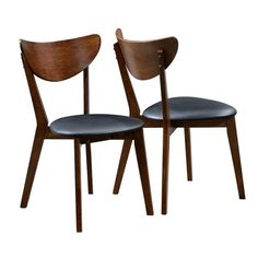 Peony Retro Dark Walnut and Black Seat Dining Chairs (Set of 2) | Overstock.com Shopping - The Best Deals on Dining Chairs
