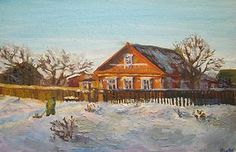Winter day , oil on canvas painting