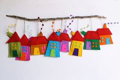 House ornament Set of eight Felt House decoration door Intres