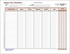 Attendance Sheet For Students Custom Class Attendance Template  Classroom Organization  Pinterest .