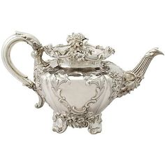 View this item and discover similar for sale at - An exceptional, fine and impressive antique Victorian English sterling silver teapot; an addition to our silver teaware collection. This exceptional antique Bronze, Vintage Silver, Antique Silver, Silver Tea Set, Art Antique, Leaf Texture, Teapots And Cups, Silver Spoons, Tea Party