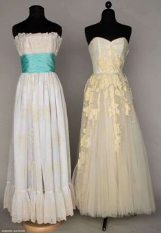 Augusta Auctions, April 17, 2013 - NEW YORK CITY: Two Strapless White Ball Gowns, 1950-1960