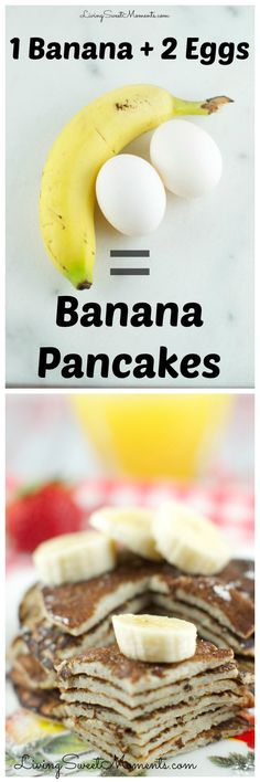 These 2 Ingredient Banana Pancakes are so easy to make! All you need is 2 eggs a… These 2 Ingredient Banana Pancakes are so easy to make! All you need is 2 eggs and a banana in a blender! They are gluten free and so delicious. Gluten Free Breakfasts, Gluten Free Recipes, Low Carb Recipes, Cooking Recipes, Healthy Egg Recipes, Paleo Pancake Mix Recipe, Easy Fast Recipes, Diet Recipes, Fat Free Recipes