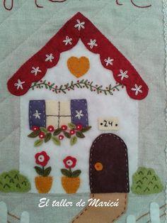 Maricú& workshop: Felt on Linen for a Mini Quilt. Wool Applique Patterns, Hand Applique, Felt Applique, Applique Quilts, Applique Designs, Quilt Patterns, House Quilt Block, House Quilts, Quilt Blocks