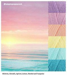 Stylecraft Special DK yarn Crochet Sunset on the Beach color palette. Yarn Color Combinations, Colour Schemes, Color Patterns, Decoration Palette, Pastel Sunset, Ocean Sunset, Summer Sunset, Beach Color, Colour Pallette