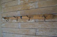 Wooden Vintage Baseball Bat Cap Or Coat Rack Antique Hooks
