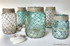 DIY Mason jars wrapped with fisherman's netting