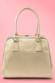 fa0c38ed340 VaVa Vintage 60s Chic Suitcase Handbag in Ivory genuine leather Make Up  Tassen, Rugzak Tas